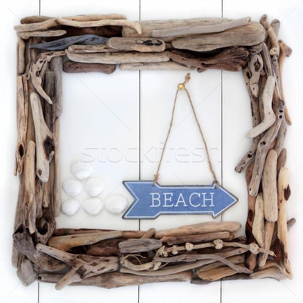 Beach Wood Frame Stock photo © marilyna