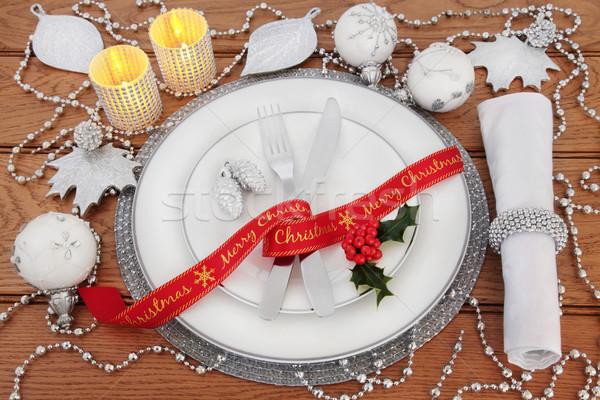 Stock fotó: Karácsony · ebédlőasztal · fehér · porcelán · tányérok · csecsebecse
