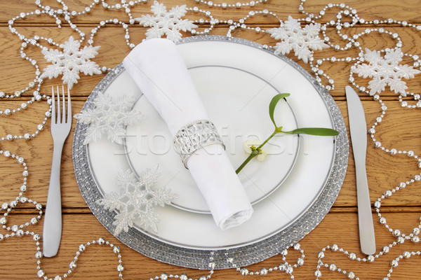 Christmas Sparkling Table Setting Stock photo © marilyna