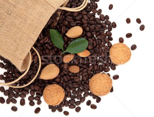 Caffè chicchi di caffè sciolto biscotti mandorla Foto d'archivio © marilyna