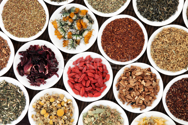 Egészséges szárított növénygyűjtemény gyógynövény tea fehér porcelán Stock fotó © marilyna