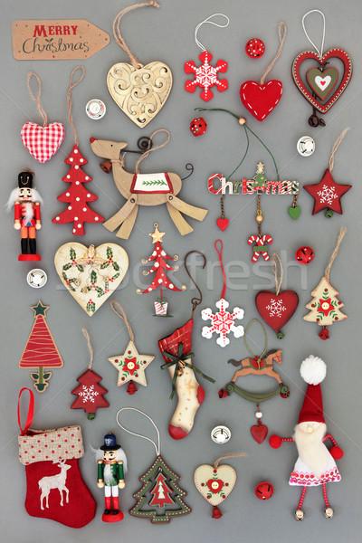 Vecchio stile Natale decorazioni albero di natale grigio segno Foto d'archivio © marilyna