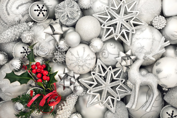 Сток-фото: красивой · Рождества · безделушка · аннотация · белый · серебро