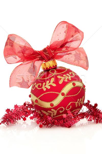 Karácsony idő labda dekoráció piros arany Stock fotó © marilyna
