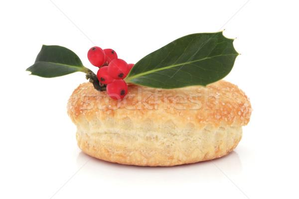Torta Natale Berry foglia isolato bianco Foto d'archivio © marilyna