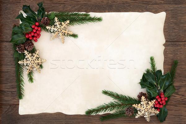 Stockfoto: Abstract · christmas · grens · sneeuwvlok · snuisterij · decoraties