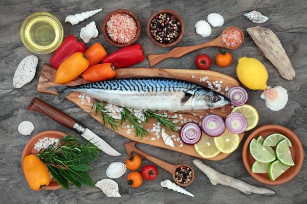 Uskumru balık sağlıklı beslenme sağlık gıda Stok fotoğraf © marilyna