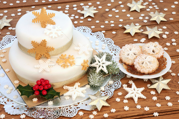 Iced Christmas Cake and Mince Pies Stock photo © marilyna