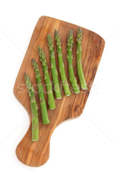 Asperges olive bois planche à découper blanche alimentaire Photo stock © marilyna