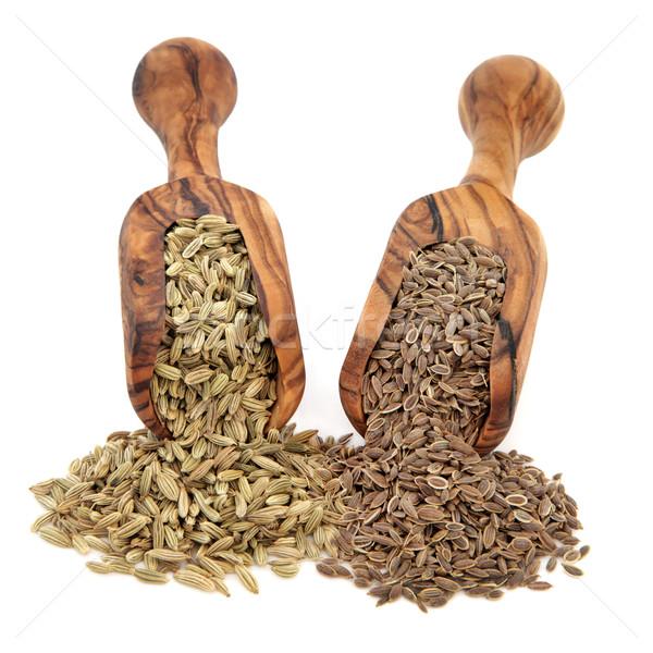 Koper nasion oliwy drewna szufelka biały Zdjęcia stock © marilyna