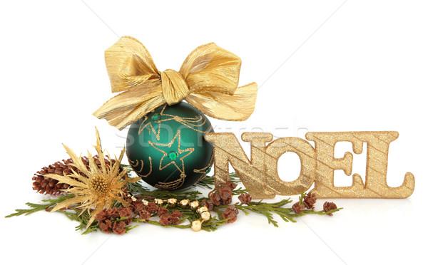 Noel süslemeleri yeşil önemsiz şey dekorasyon yay Stok fotoğraf © marilyna