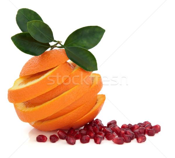 Tropische vruchten granaatappel zaad oranje vruchten blad Stockfoto © marilyna