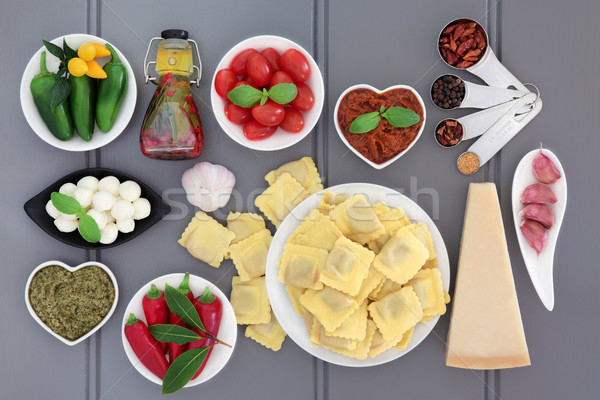 のイタリア料理 材料 イタリア語 地中海料理 グレー 木材 ストックフォト © marilyna
