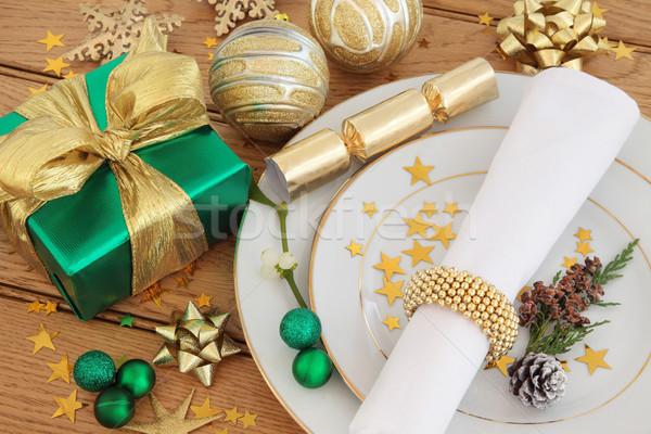Stok fotoğraf: Noel · zaman · akşam · yemeği · yer · plakalar · peçete