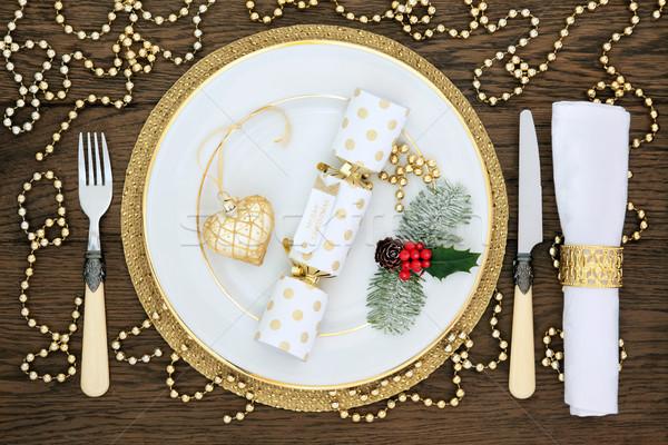 Noel yemek masası beyaz plaka altın Stok fotoğraf © marilyna