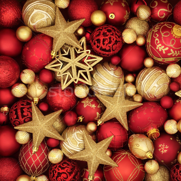Gold and Red Bauble Decorations Stock photo © marilyna