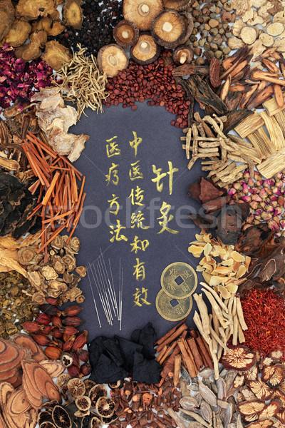 Akupunktur iğneler Çin otlar feng shui madeni para Stok fotoğraf © marilyna