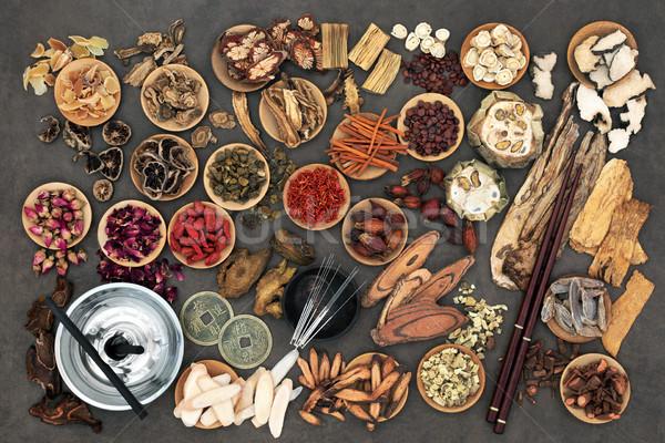 Çin akupunktur tedavi alternatif tıp otlar Stok fotoğraf © marilyna