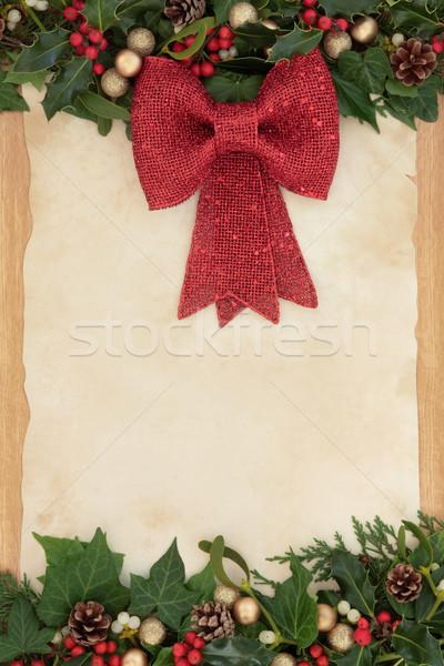 Stock fotó: Karácsony · dekoráció · keret · piros · íj · borostyán