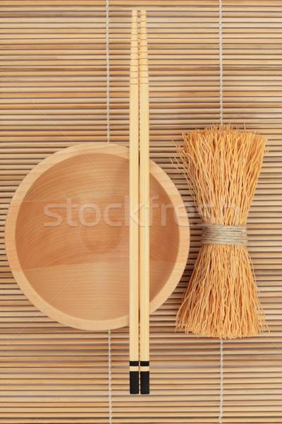 Japán tál evőpálcikák habaró fa bambusz Stock fotó © marilyna