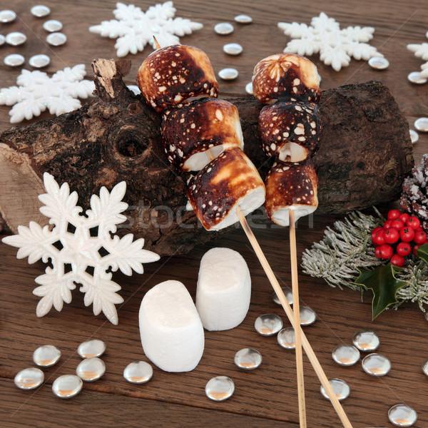 焼いた クリスマス マシュマロ 木製 古い ストックフォト © marilyna