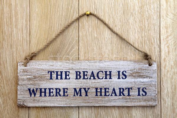 Favori lieu plage coeur vieux Photo stock © marilyna