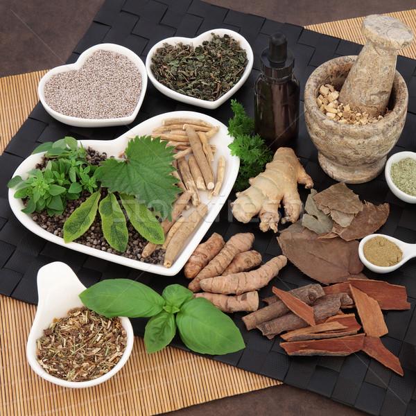 Alternatív gyógymód férfiak alternatív gyógynövény porcelán edények Stock fotó © marilyna