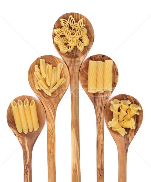 ストックフォト: パスタ · オリーブ · 木材 · 側位 · 白 · 食品