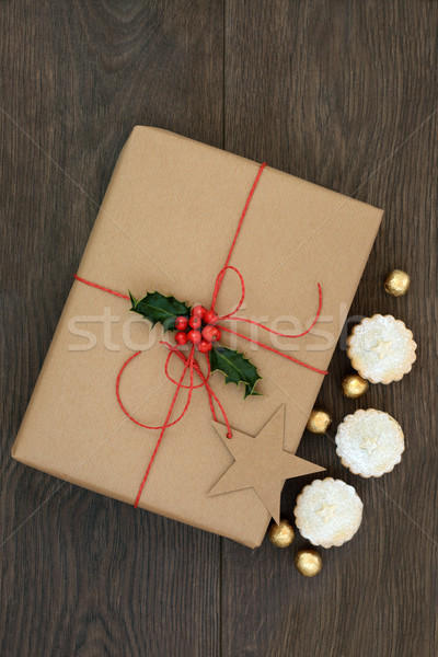 Christmas Present with Mince Pies Stock photo © marilyna