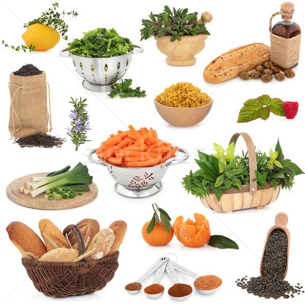 Stok fotoğraf: Sağlıklı · gıda · büyük · toplama · yüksek · vitaminler · beyaz