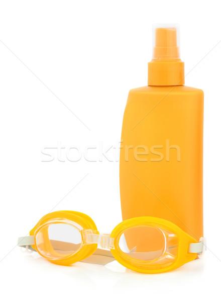 Protetor solar óculos de proteção corpo loção garrafa natação Foto stock © marilyna