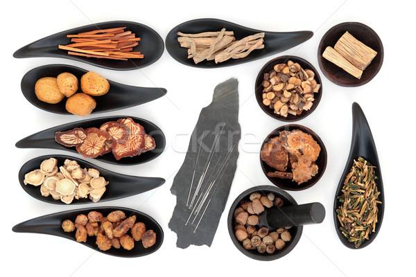 Akupunktur iğneler otlar Çin beyaz Stok fotoğraf © marilyna