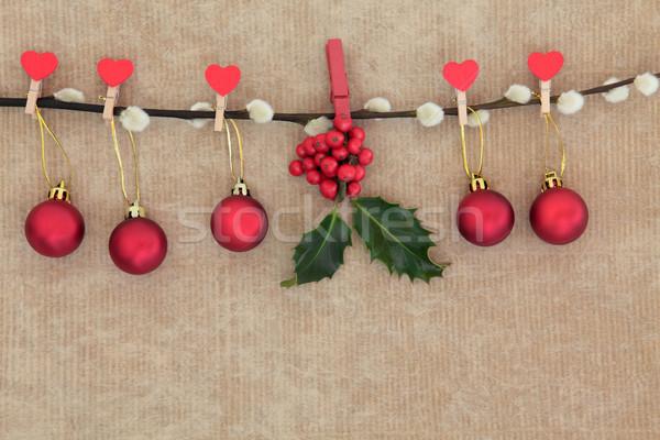 Christmas czerwony cacko dekoracje wiszący pussy Zdjęcia stock © marilyna