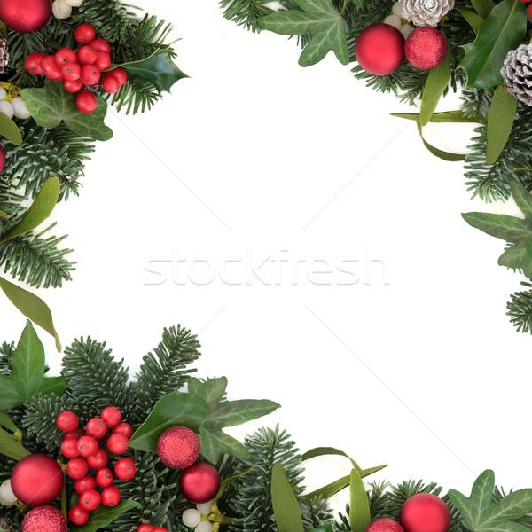 Rojo chuchería frontera Navidad decoraciones hiedra Foto stock © marilyna