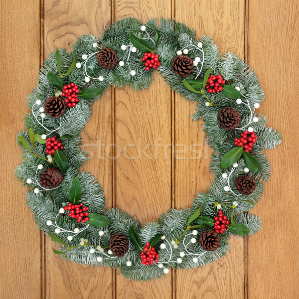 ストックフォト: 装飾的な · クリスマス · 花輪 · ヤドリギ · 松 · 雪