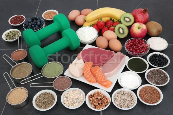 健康 食品 ボディ ビルダー ボディービル ダンベル ストックフォト © marilyna