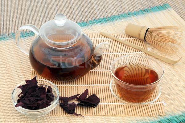 Hínár tea üveg teáskanna teáscsésze aszalt Stock fotó © marilyna