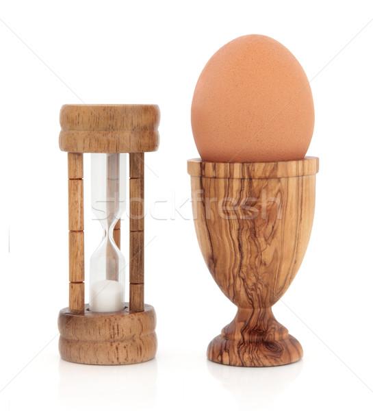 朝食 時間 オリーブ 木材 タイマー エッグカップ ストックフォト © marilyna