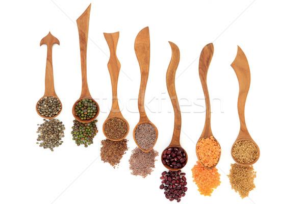 Tohumları sağlıklı süper gıda ahşap kaşık Stok fotoğraf © marilyna