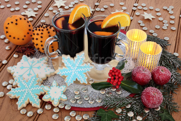 Mulled Wine and Gingerbread Biscuits Stock photo © marilyna