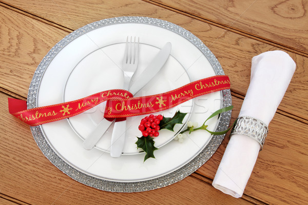 Simple Christmas Place Setting Stock photo © marilyna