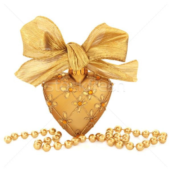 Oro gingillo decorazione cuore Natale Foto d'archivio © marilyna