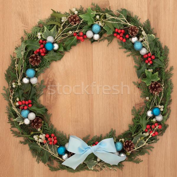 Decorativo ghirlanda Natale floreale decorazione blu Foto d'archivio © marilyna