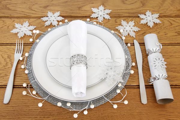 Сток-фото: Рождества · таблице · обеденный · стол · белый · пластин