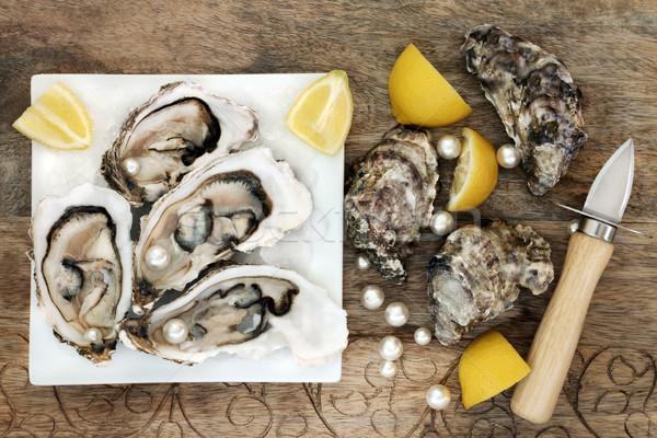 Parels ijs vierkante plaat oester Stockfoto © marilyna