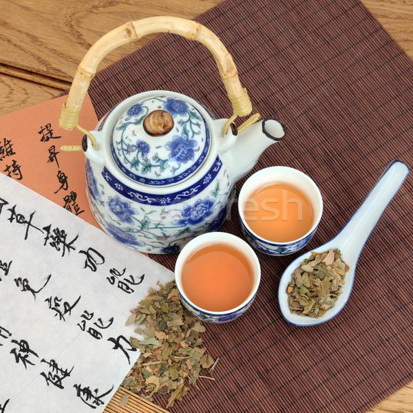 Yeşil çay ot stil çay pot Stok fotoğraf © marilyna