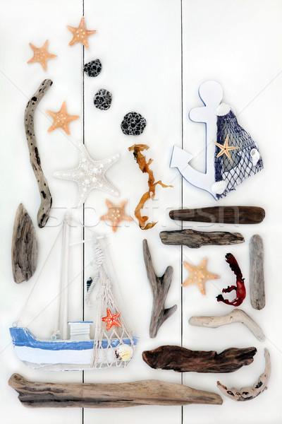 Beira-mar memórias abstrato colagem praia objetos Foto stock © marilyna