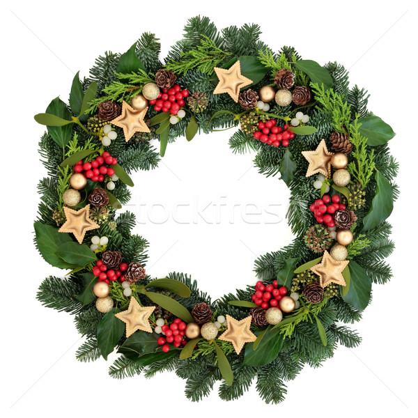 Stockfoto: Christmas · krans · goud · snuisterij · decoraties · klimop