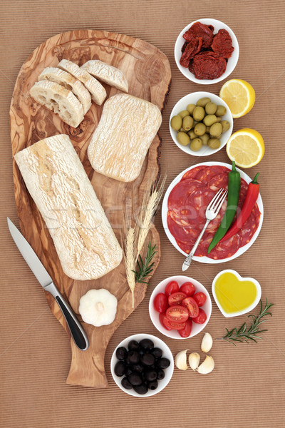 Italien antipasti olives salami piment poivrons Photo stock © marilyna