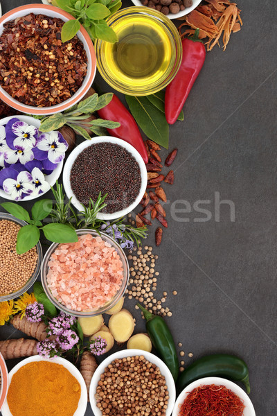 Stock photo: Herb and Spice Abstract Border